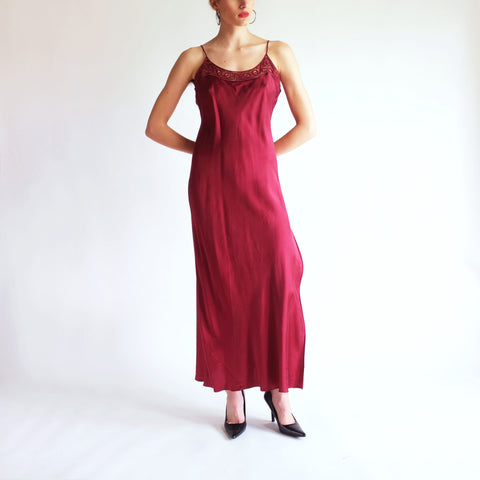 Vintage Full Length 100% Silk Slip Dress in Cabernet