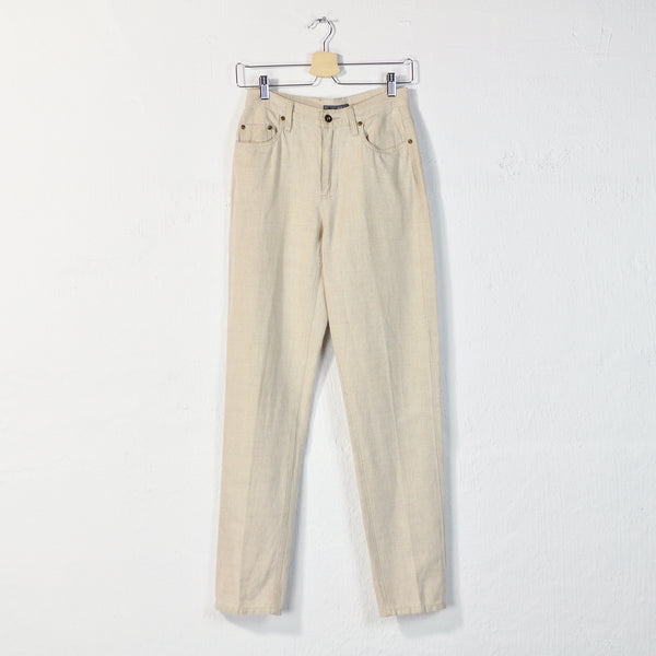 Vintage 90s Liz Claiborne Tapered Linen + Cotton Pants - Sz 4 / W26