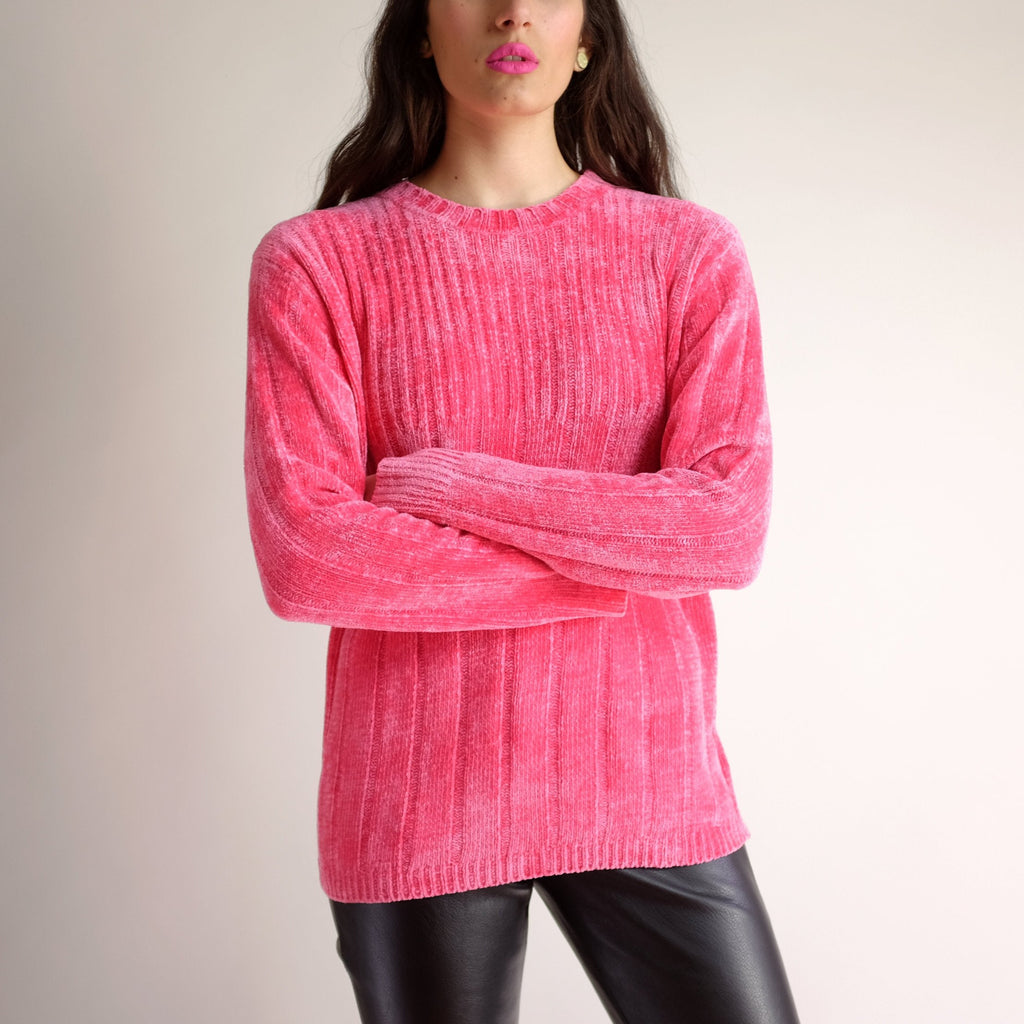 Vintage 1990s Thick Velour Sweater in Flamingo