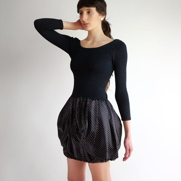 Vintage 90s Bubble Skirt Cocktail Dress in Black - S