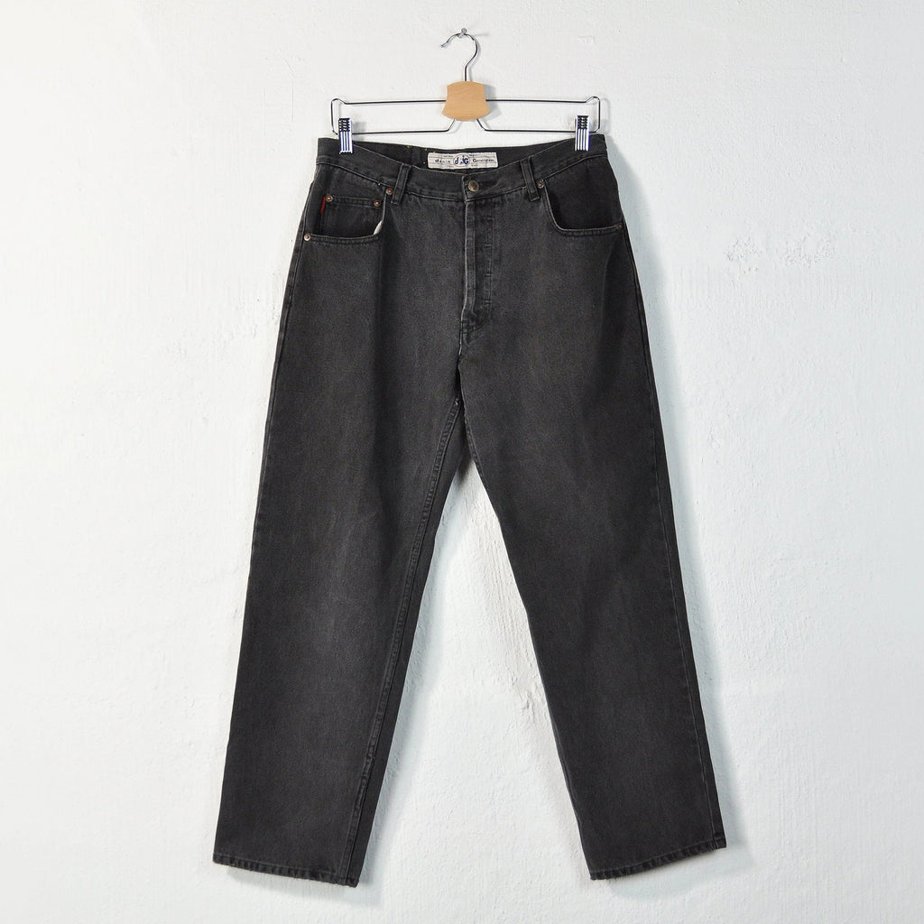 Vintage 90s Faded Black Button Fly Jeans - W32
