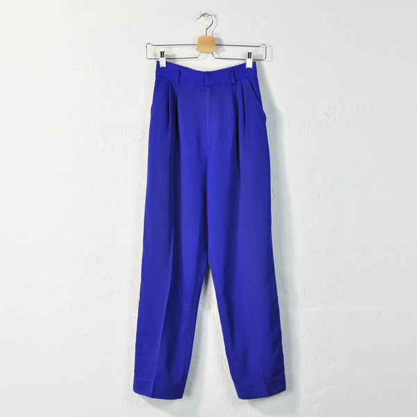 Vintage 90s Pleated Wool Trousers in Cobalt - Size 2 / W24