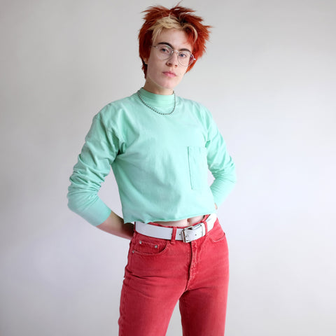 Vintage 90s Cropped Pocket Tee in Teal