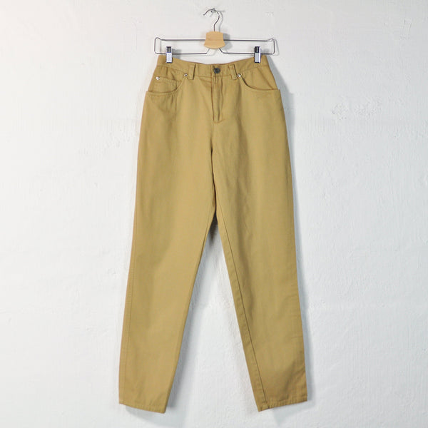 Vintage 90s High Rise Cotton Pants in Sand - Size 6 / W26