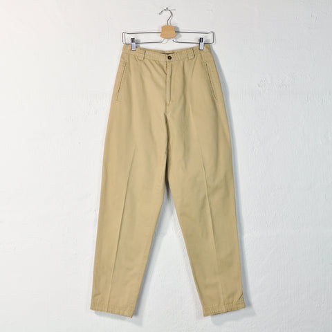 Vintage 90s Pleated Cotton Trousers in Beige - Size 8 / W26.5