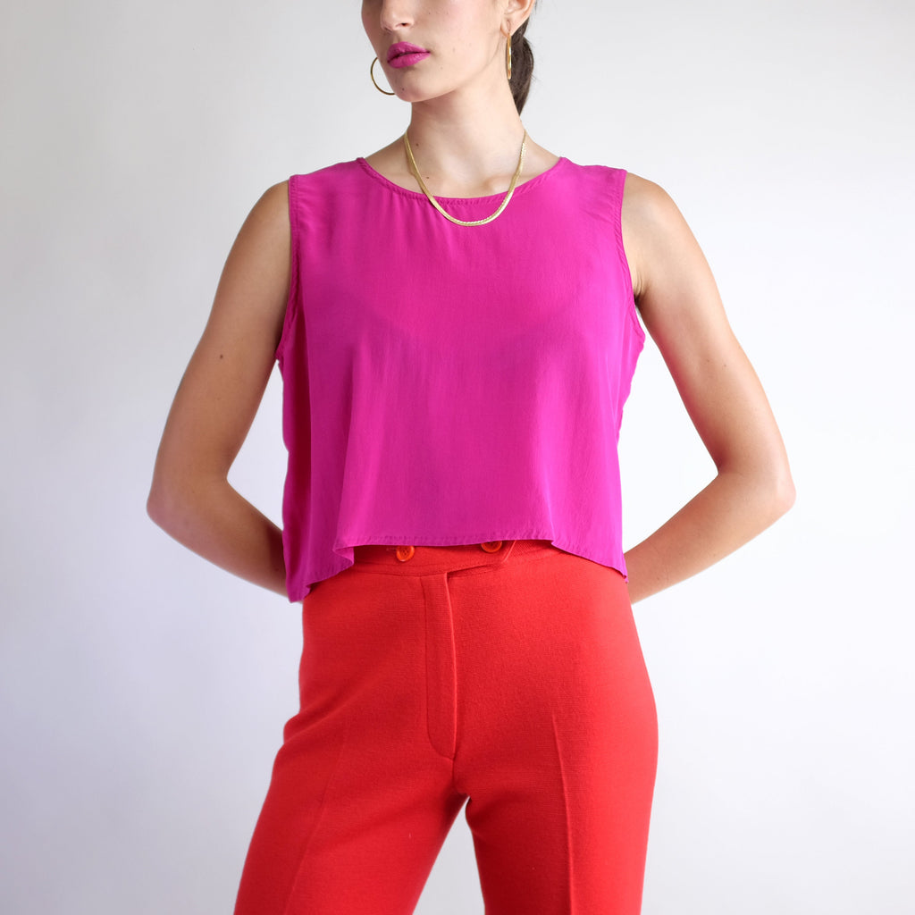 Vintage Cropped 100% Silk Tank Top in Fuchsia - M
