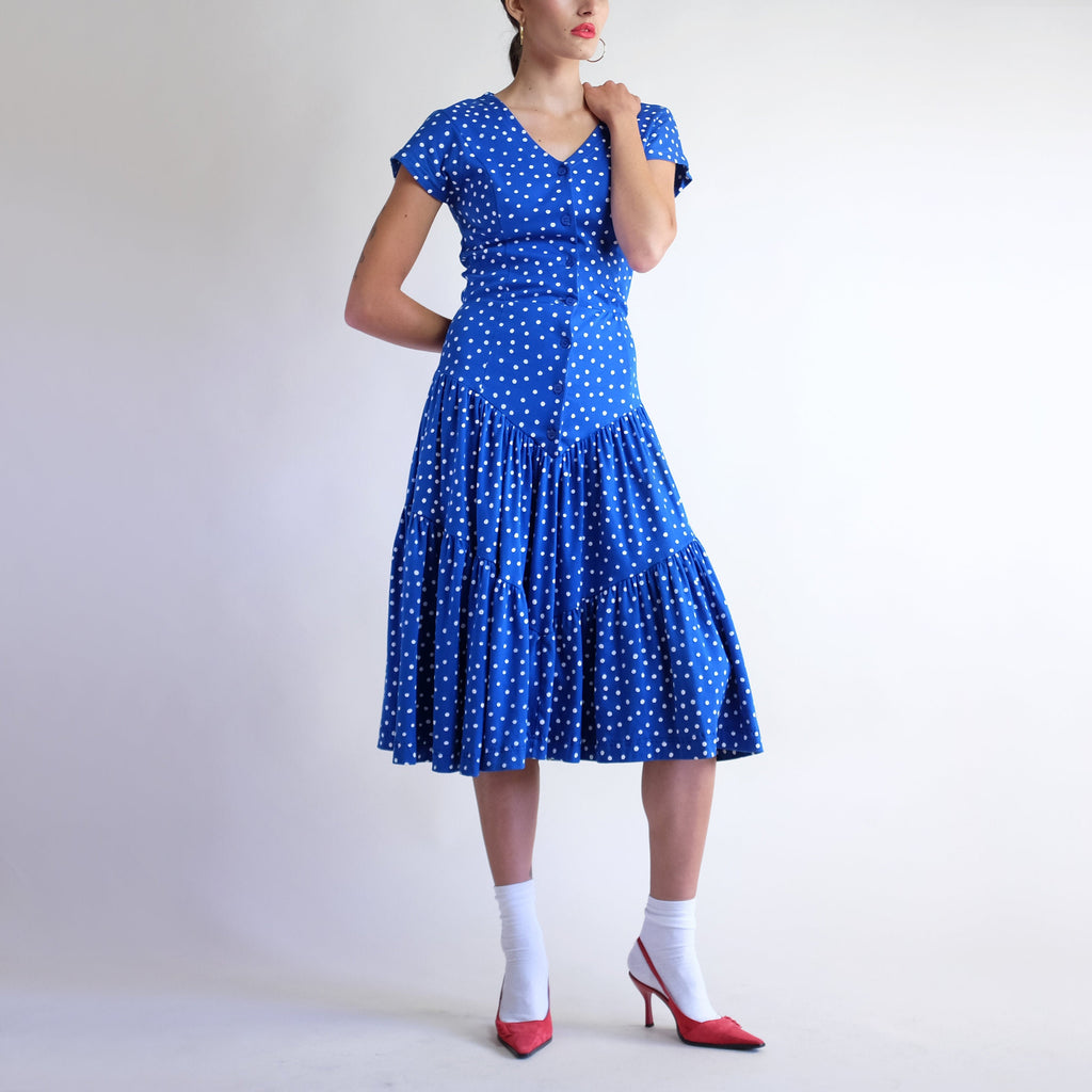 Vintage 90s Polka Dot 100% Cotton Tiered Drop Waist Dress