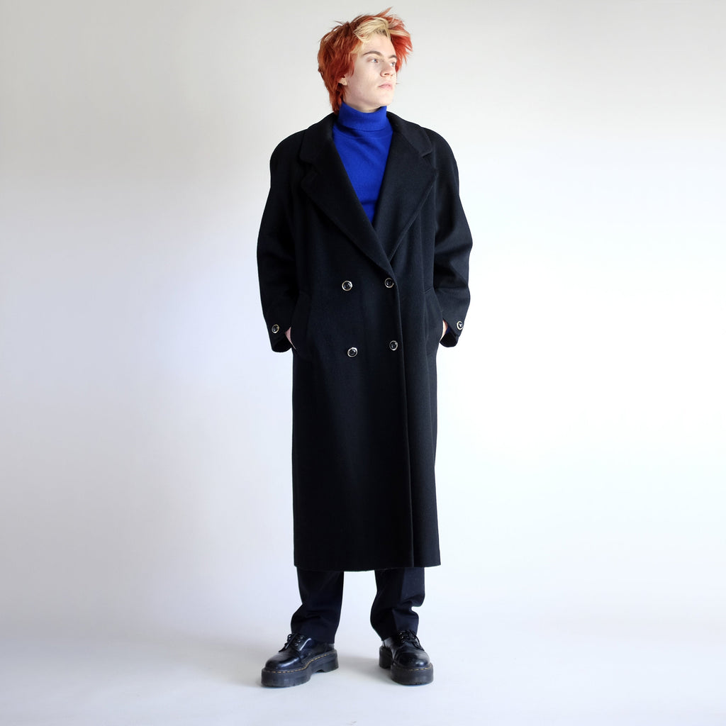 90s Oversized Double Breasted Wool Maxi Coat in Black