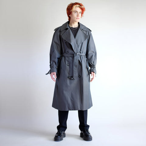 90s Oversized Double Breasted Wool Lined Trench Coat in Slate