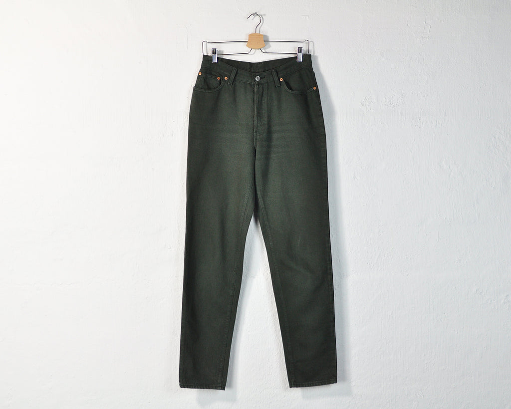 Vintage 90s Levi's High Waisted Jeans in Dark Green - W29