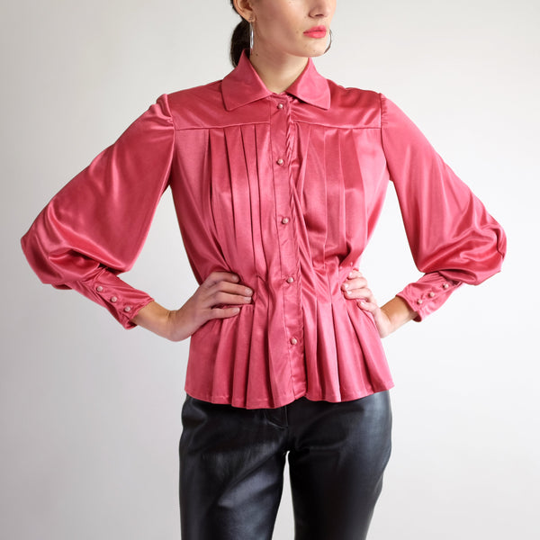 70s Pleated Bishop Sleeve Peplum Blouse in Rose - M