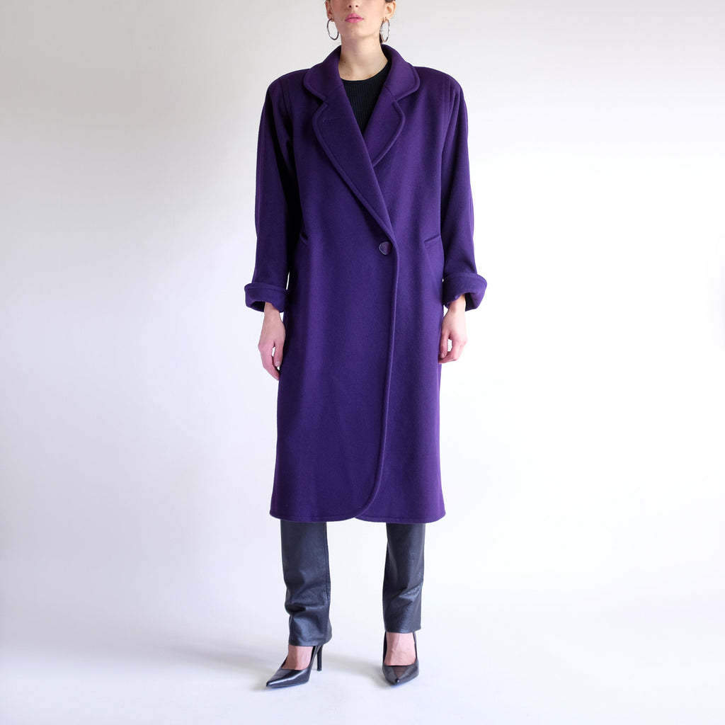 90s Structured Wool Overcoat in Eggplant - S