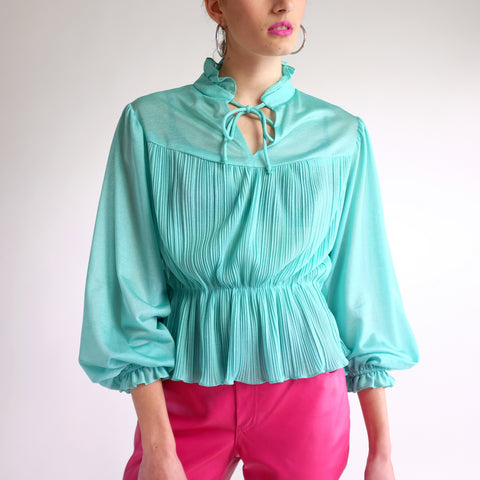 Vintage 70s Pleated Puff Sleeve Peplum Blouse in Teal