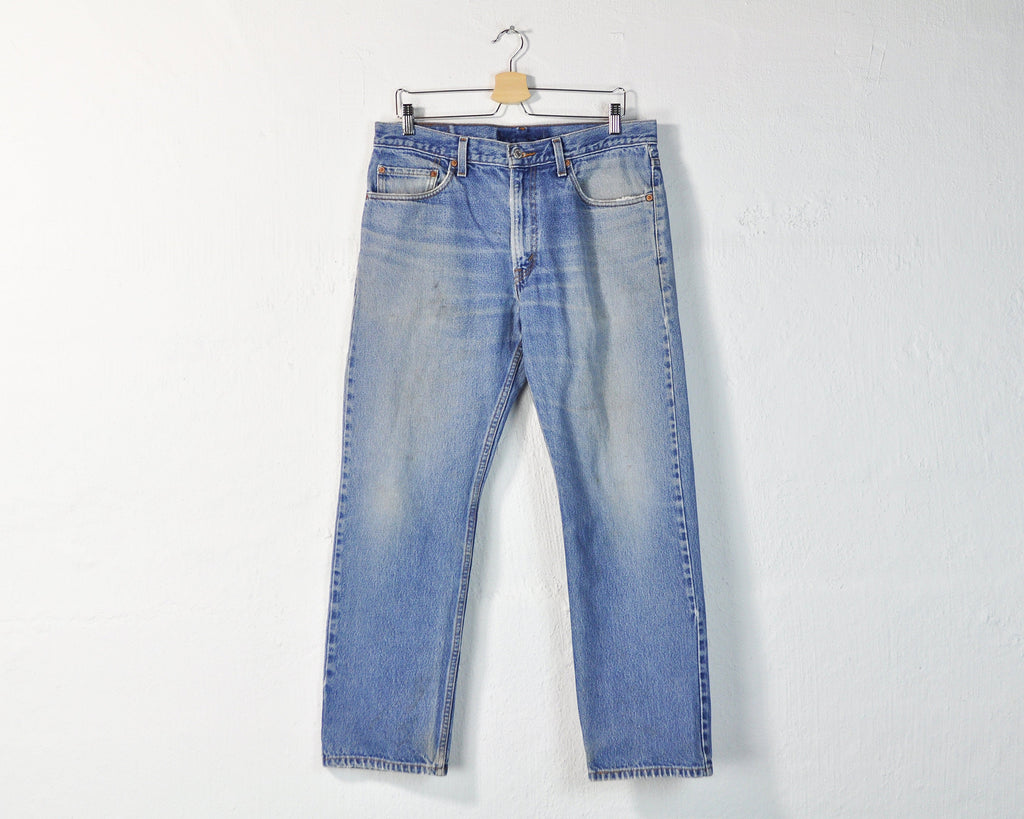 Levi's 505 Jeans, Vintage 90s Levi Jeans, Classic Medium Wash Straight Leg Mid Rise Unisex Faded Worn Distressed Boyfriend 505 Jeans W 34