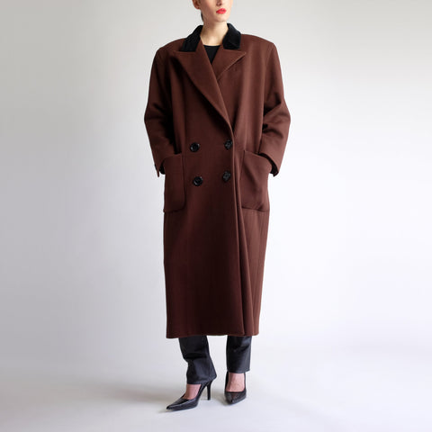 Vintage 90s Structured Wool Maxi Overcoat in Brown - Sz 4