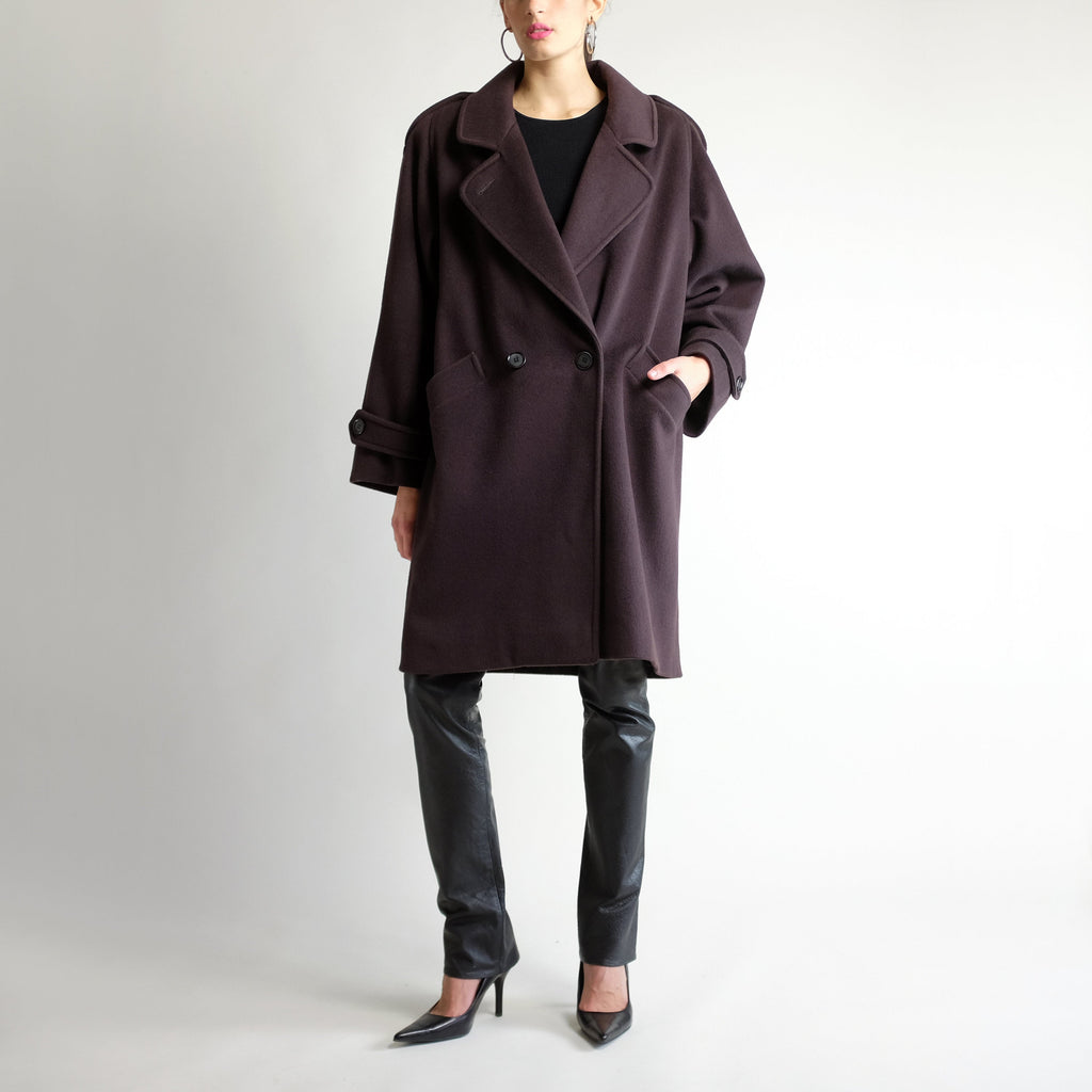 90s Oversized Wool Midi Coat in Espresso - Sz 14