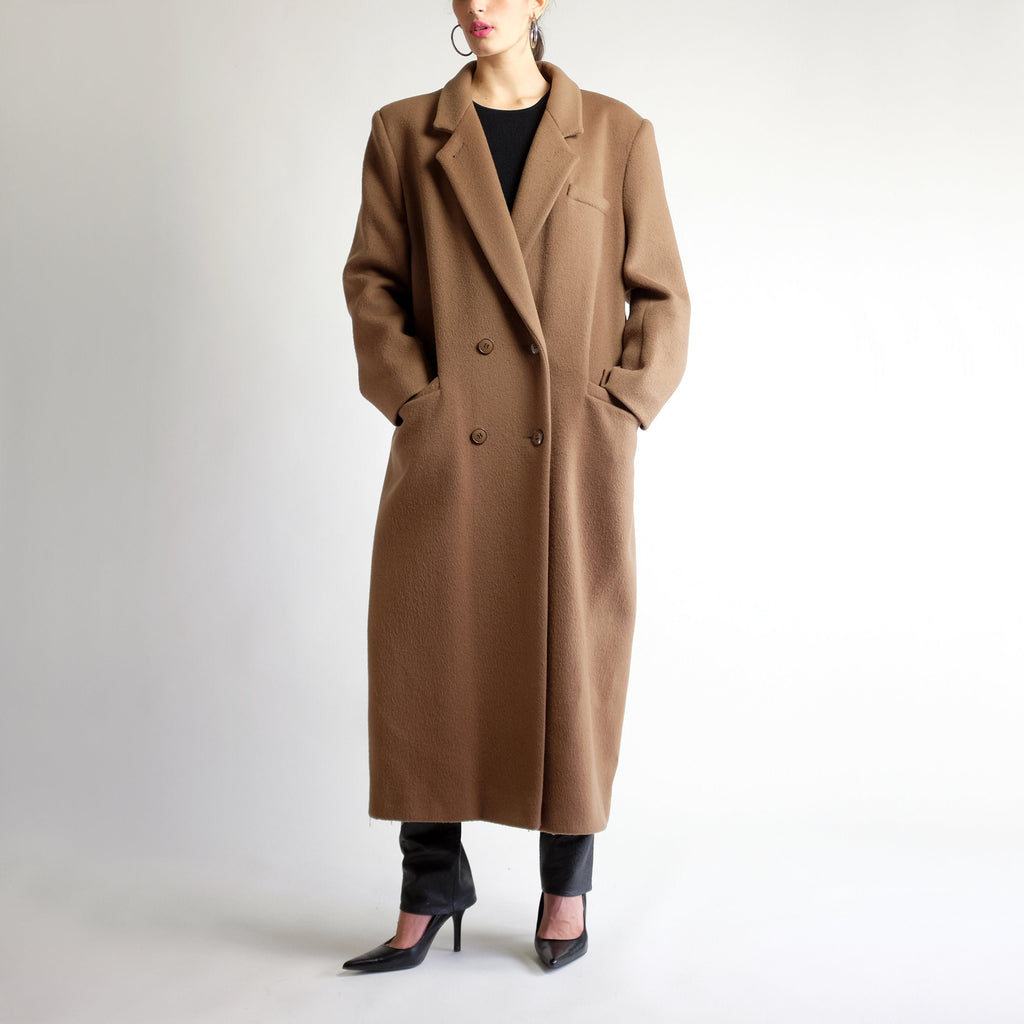 90s Oversized Wool Maxi Coat in Cocoa - L
