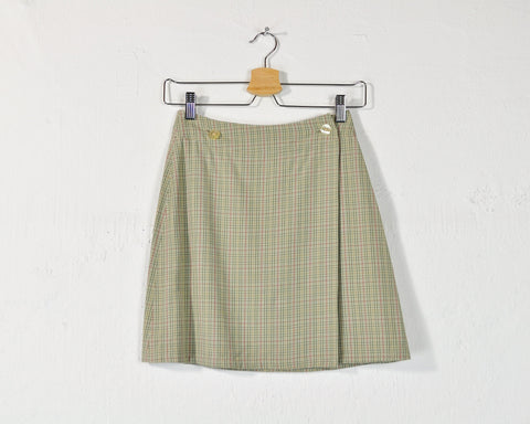 Vintage 90s Pastel Plaid Mini Skirt - S