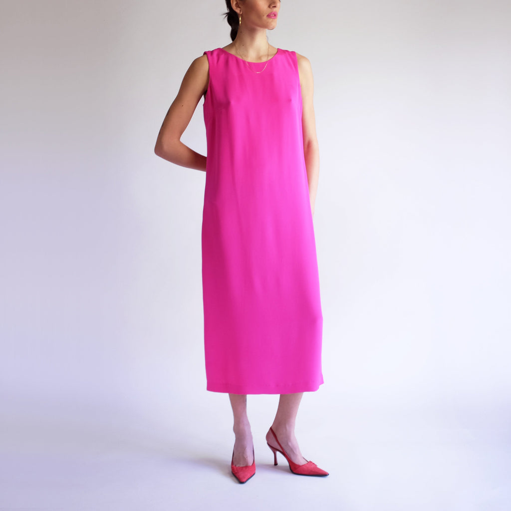 Long Silk Dress, Vintage Vibrant Bright Pink Magenta Maxi Dress, Simple Sleeveless Dress, 90s Silk Maxi Dress, Full Length Minimal Dress