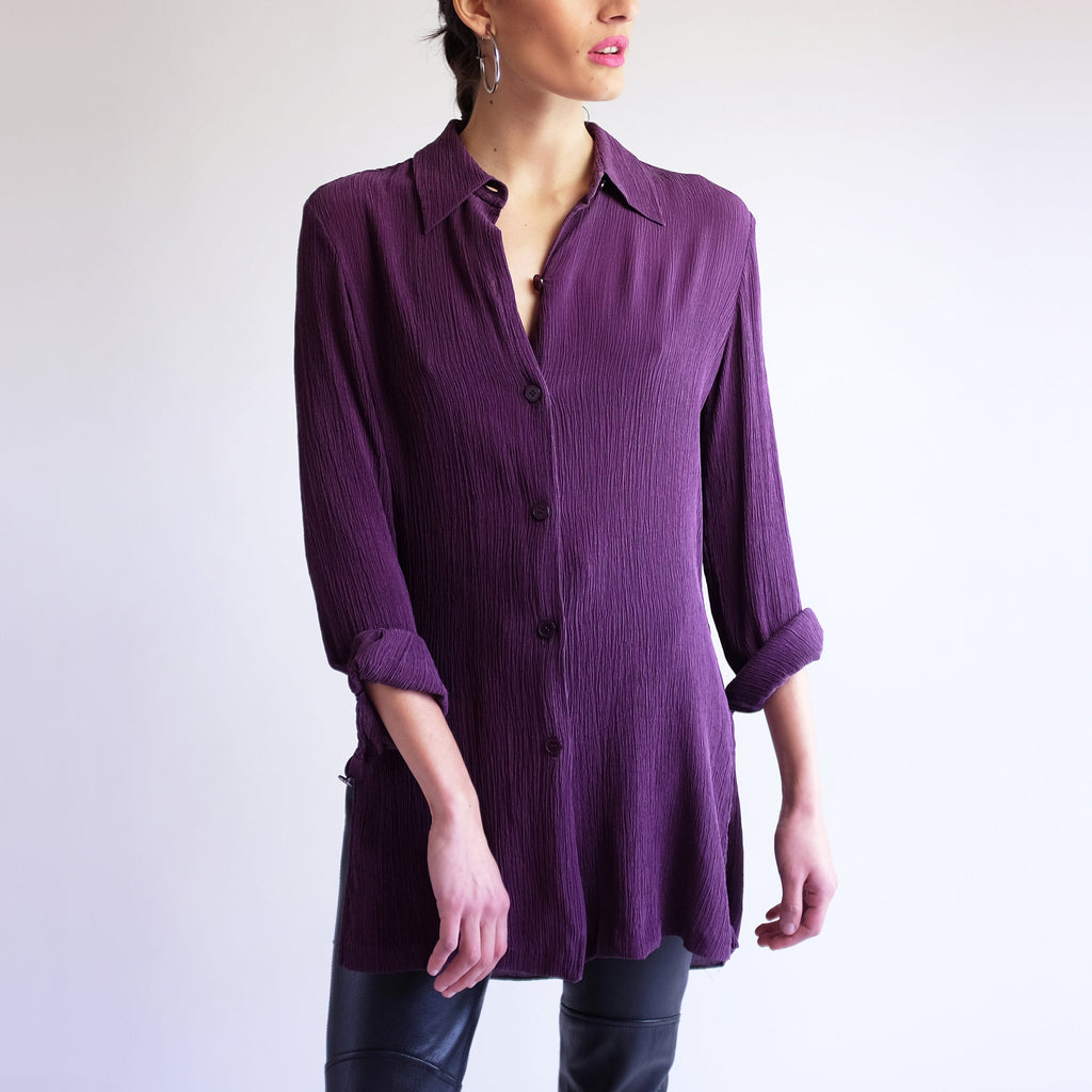 Fortuny Pleated Blouse, Vintage 90s Minimal Long Sleeve Button Down Tunic, Simple Purple Mushroom Micro Pleat Collared Shirt 90s Silk Oxford