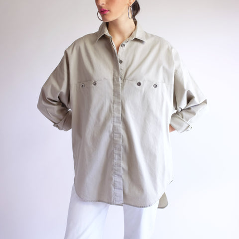 Vintage 100% Cotton Dolman Sleeve Tunic in Beige - M