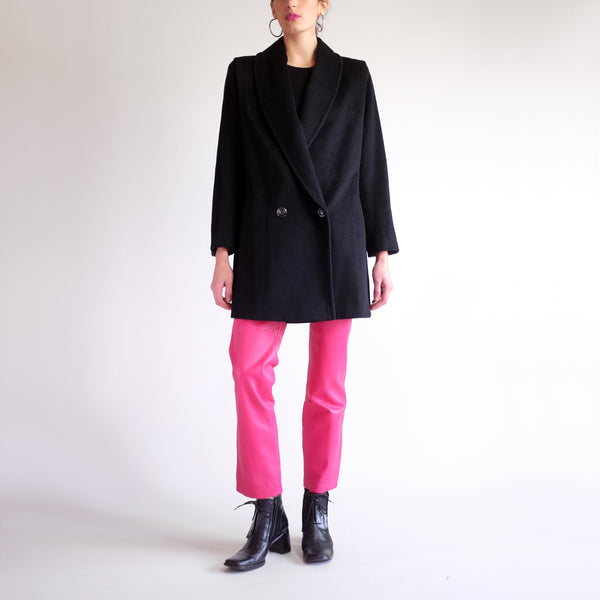 Vintage 90s Structured Wool Overcoat in Black