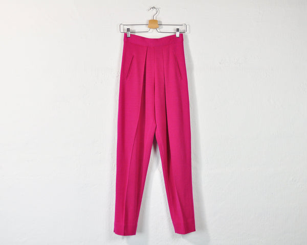 Vintage 90s High Waist 100% Merino Wool Trousers in Magenta - S