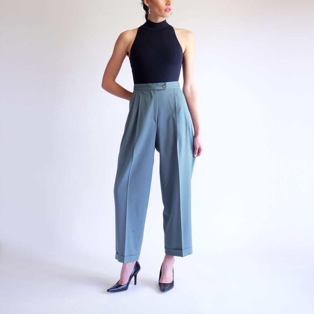 Vintage 90s High Waist Pleated Wool Trousers in Aqua - Sz 4