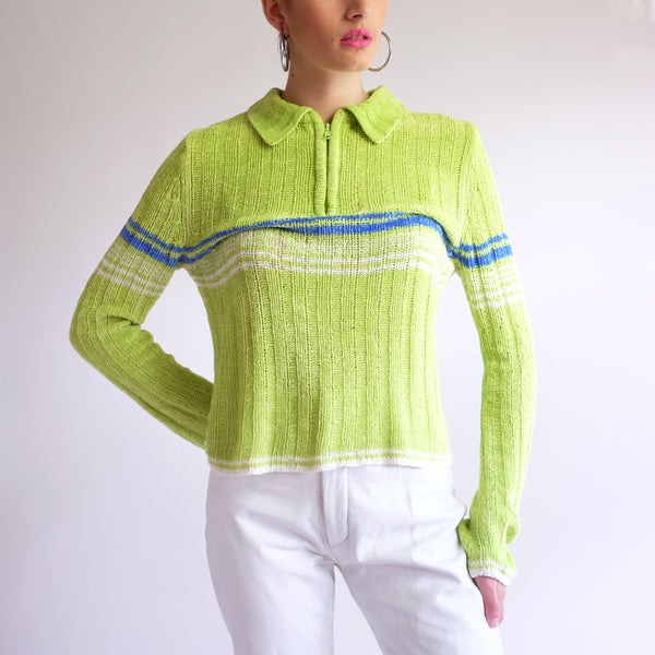 Vintage 90s Striped Zip-Up Sweater in Lime