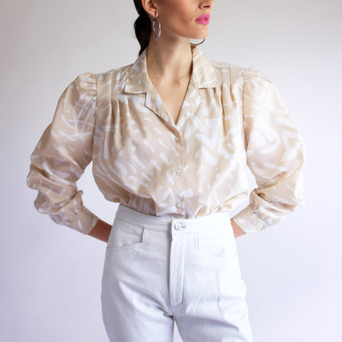 Vintage 80s Abstract Print Puff Sleeve Blouse in Beige - L
