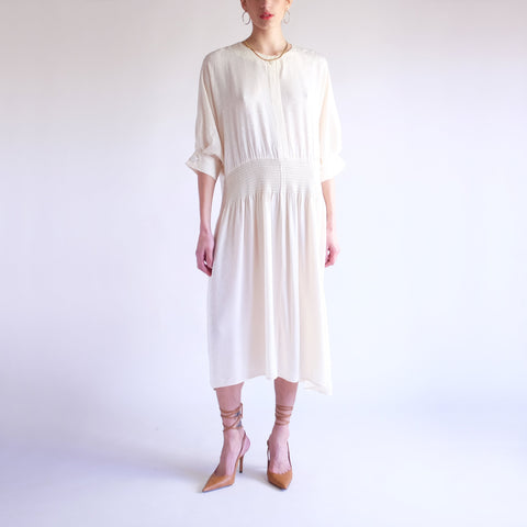 Vintage Oversized 100% Silk Drop Waist Midi Dress in Cream - SZ 8