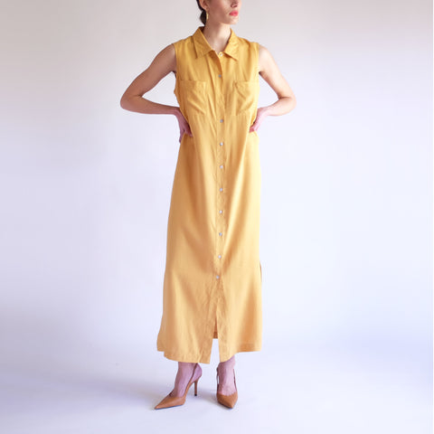 Vintage 90s Minimal 100% Silk Maxi Dress in Honey - SZ 10