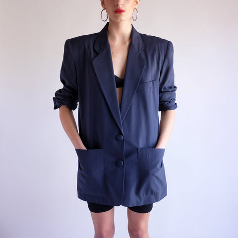 Vintage 90s Minimal Oversized Silk Blazer in Navy Blue - S/M