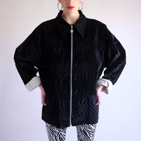 Vintage Y2k Psych Swirl Pattern Jacket in Black - XL