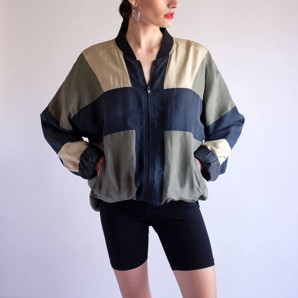 Vintage 90s Color Block 100% Silk Bomber Jacket - L
