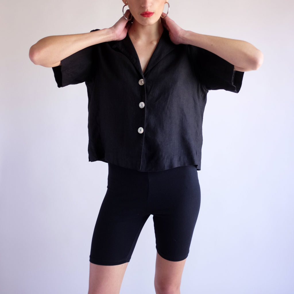 Vintage 90s Minimal 100% Linen Crop Top in Black - SZ 10
