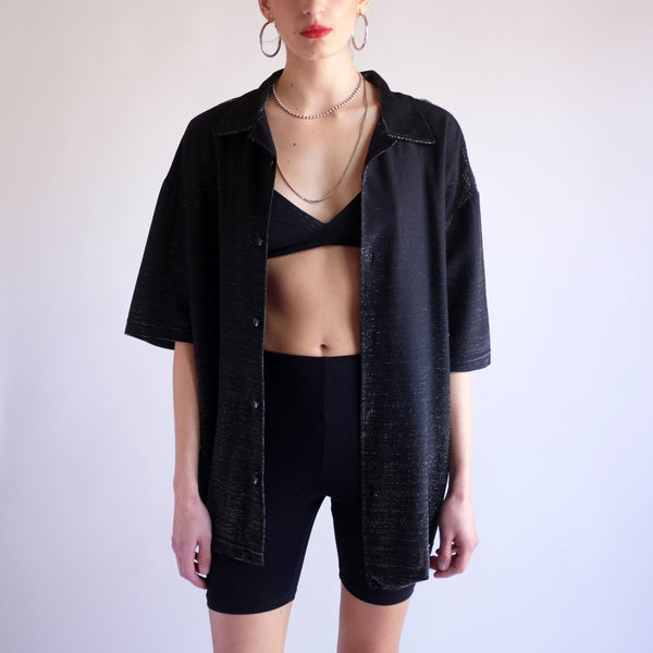 Vintage Y2k Baggy Iridescent Shirt in Black - XL