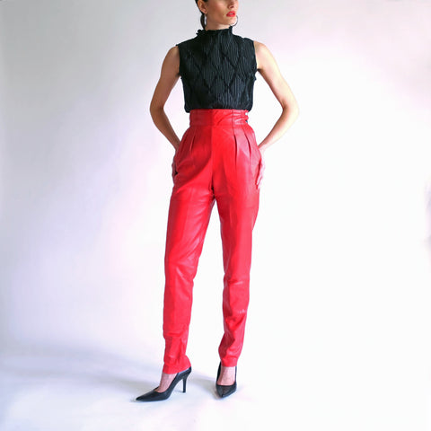Vintage Ultra High Waisted 100% Leather Pants in Red - Sz 4 / W24