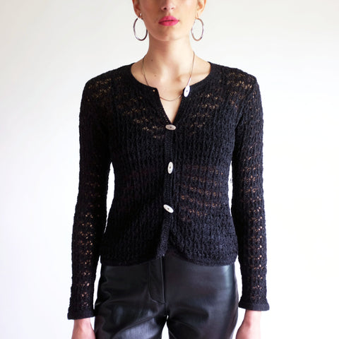 Vintage 90s Silk Knit Cardigan Sweater in Black - S