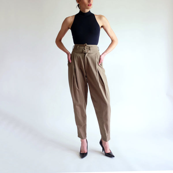 Vintage 90s High Waisted 100% Cotton Trousers - Sz 2