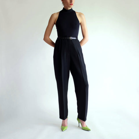 Vintage 100% Silk High Rise Pleated Tapered Trousers in Black - Sz 6