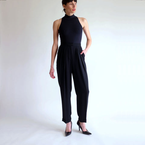 Vintage 90s High Rise Pleated Tapered Silky Trousers in Black - Sz 6