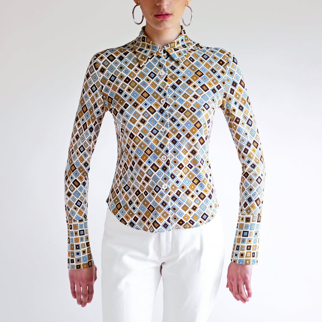 Vintage Y2k Abstract pattern French Cuff Blouse - M