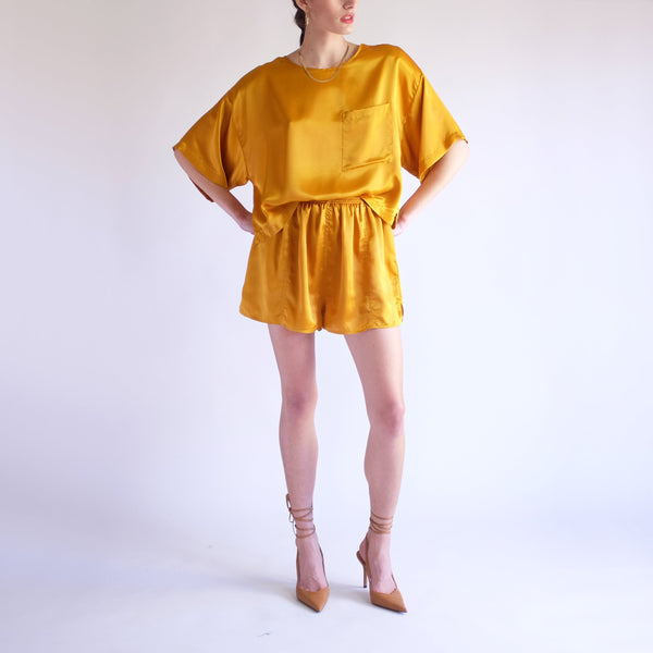 Vintage 90s Silky 2PC Co-Ord Set in Goldenrod - SZ 8