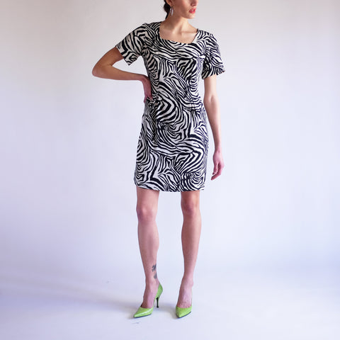 Vintage 90s Zebra Print 100% Silk Dress - SZ 4P