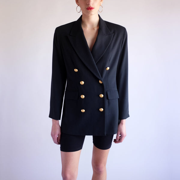 Vintage 90s Double Breasted Blazer in Black - SZ 6P