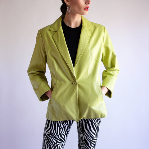 Vintage Y2k Leather Blazer in Lime - SZ 8