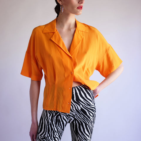 Vintage 90s Cropped 100% Silk Blouse in Tangerine