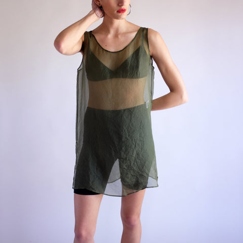 Minimal Sheer 100% Silk Tunic Tank