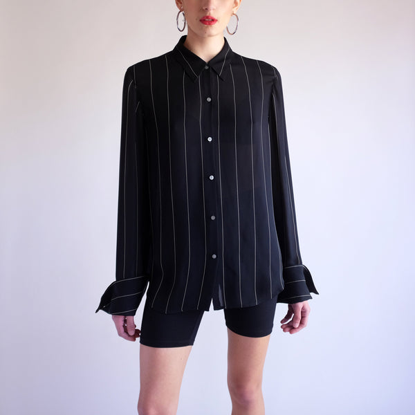 Vintage Ralph Lauren 100% Silk Pinstriped Blouse - SZ 12